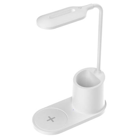 Lampă de masă LED/3W/5V cu încărcare wireless albă