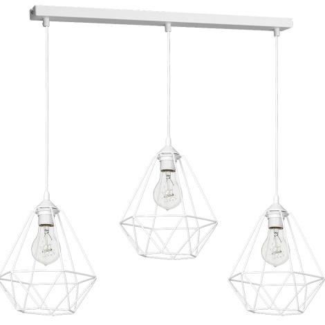 Lampă suspendată BASKET 3xE27/60W/230V alb