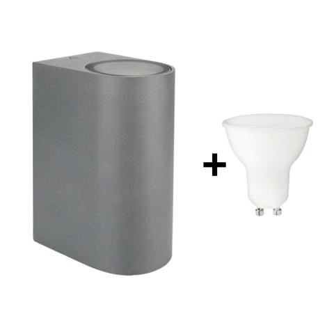 LED Aplică perete exteruor TORRE 2xGU10/6W/230V IP54 gri