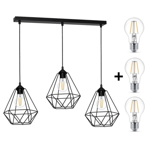 LED Lampă suspendată BASKET 3xE27/4,3W/230V