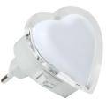 LED Lumină de noapte în priză 0,4W/230V inimă albă