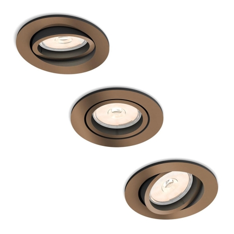 Philips 50393/05/PN - SET 3x Lampa incastrata MYLIVING DONEGAL 3xGU10/5,5W/230V