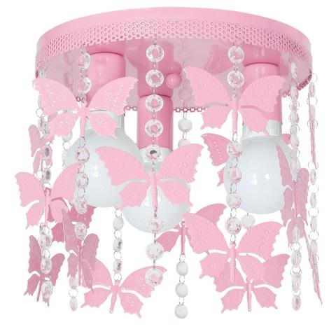 Plafoniera copii ELZA butterflies 3xE27/60W/230V roz