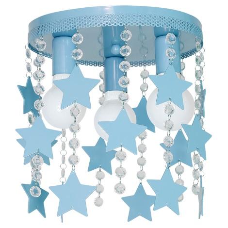 Plafoniera copii ELZA stars 3xE27/60W/230V albastru