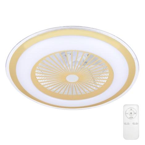 Plafonieră LED dimabilă cu ventilator RONDA LED/65W/230V 3000-6500K aurie Brilagi
