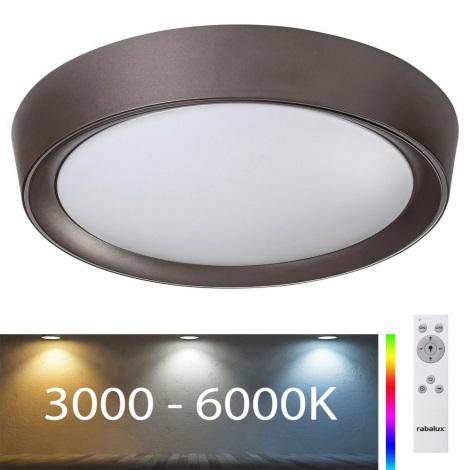 Plafonieră LED RGB dimabilă Rabalux LED/24W/230V neagră + telecomandă 3000-6000K