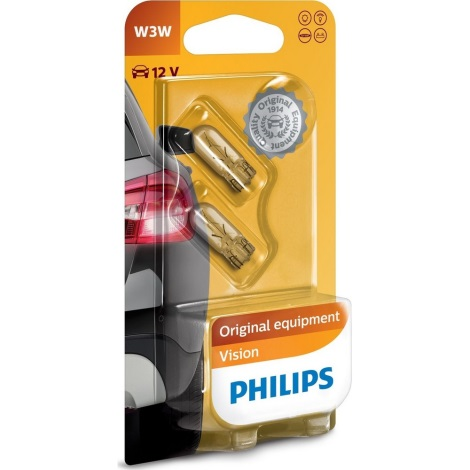 SET 2x Bec auto Philips VISION 12256B2 W2,1x9,5d/3W/12V
