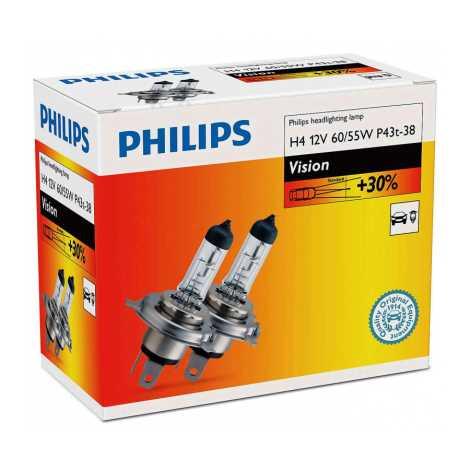 SET 2x Bec auto Philips VISION 12342PRC2 H4 P43t-38/60W/55W/12V