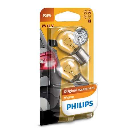 SET 2x Bec auto Philips VISION 12498B2 P21W BA15s/21W/12V