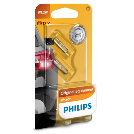 SET 2x Bec auto Philips VISION 12516B2 W1,2W W2x4,6d/1,2W/12V
