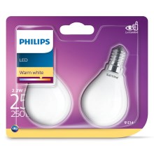 SET 2x bec LED Philips E14/2,2W/230V 2700K