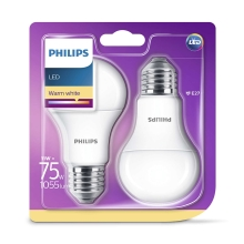 SET 2x Bec LED Philips E27/11W/230V