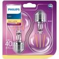 SET 2x Bec LED Philips E27/4,3W/230V 2700K