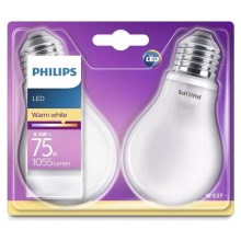 SET 2x bec LED Philips E27/8,5W/230V 2700K