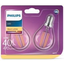 SET 2x bec LED VINTAGE Philips E14/4,3W/230V 2700K