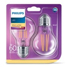 SET 2x Bec LED VINTAGE Philips E27/7W/230V 2700K