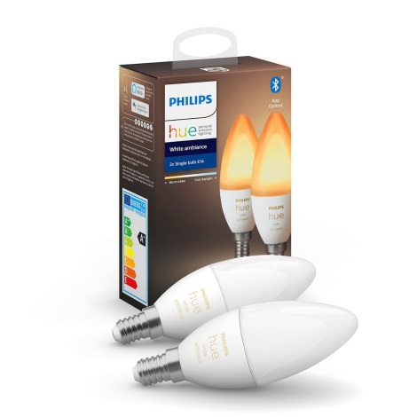 SET 2x LED Bec dimmabil Philips HUE WHITE AMBIANCE B39 E14/5,2W/230V 2200K - 6500K