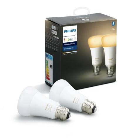 SET 2x LED Bec dimmabil Philips Hue WHITE AMBIANCE E27/8,5W/230V 2200-6500K