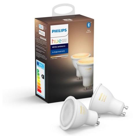 SET 2x LED Bec dimmabil Philips Hue WHITE AMBIANCE GU10/5,5W/230V 2200-6500K