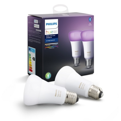 SET 2x LED Bec dimmabil Philips Hue WHITE AND COLOR AMBIANCE E27/9W/230V 2000-6500K