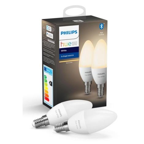 SET 2x LED Bec dimmabil Philips Hue WHITE E14/5,5W/230V 2700K
