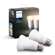 SET 2x LED Bec dimmabil Philips HUE WHITE E27/9W/230V 2700K