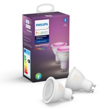 SET 2x LED Bec dimmabil Philips WHITE AND COLOR AMBIANCE GU10/5,7W/230V 2000-6500K