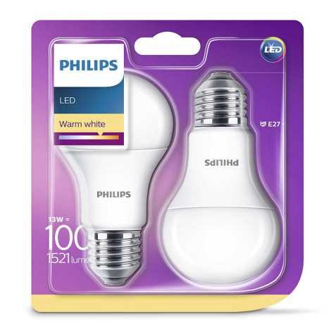 SET 2x LED Bec Philips E27/13W/230V 2700K
