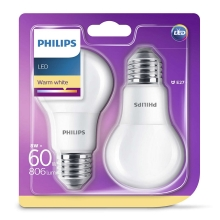 SET 2x LED Bec Philips E27/8W/230V
