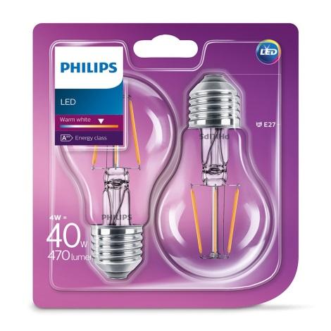 SET 2x LED Bec VINTAGE Philips E27/4W/230V 2700K
