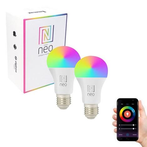 SET 2x LED RGB Bec dimmabil E27/9W/230V - Immax NEO 07115B