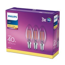 SET 3x Bec LED Philips E14/4,3W/230V 2700K