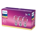 SET 3x Bec LED Philips E27/4,3W/230V 2700K