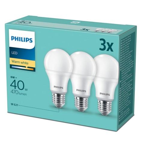 SET 3x Bec LED Philips E27/6W/230V 2700K
