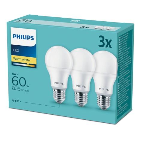 Set 3x Bec LED Philips E27/9W/230V 2700K