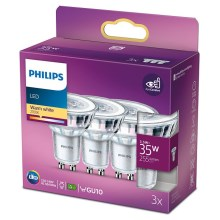 SET 3x bec LED Philips GU10/3,5W/230V 2700K