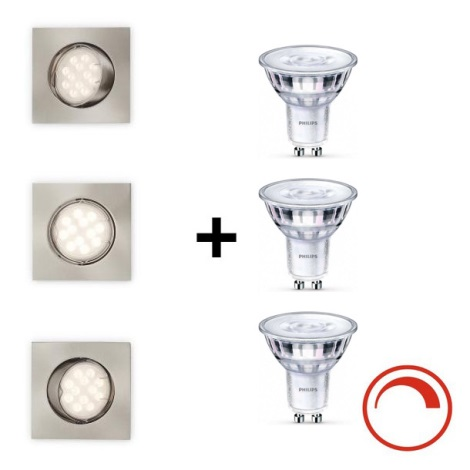 SET 3x corp de iluminat LED dimabil pentru baie OPAL 3xGU10/5,5W/230V IP23 Philips Massive 59813/17/10