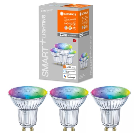 SET 3x LED RGBW Bec dimabil SMART+ GU10/5W/230V 2700K-6500K Wi-Fi Wi-Fi - Ledvance