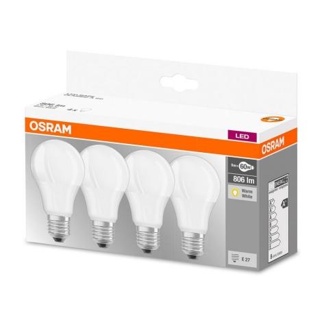 SET 4x Bec LED A60 E27/9W/230V 2700K - Osram